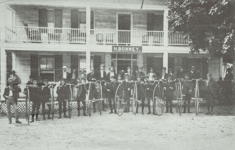 The Concord Cycling Club in late 1800's on a trip to Bonney's Tavern.